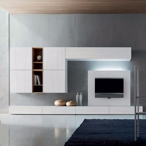 Contemporary modern TV media unit White