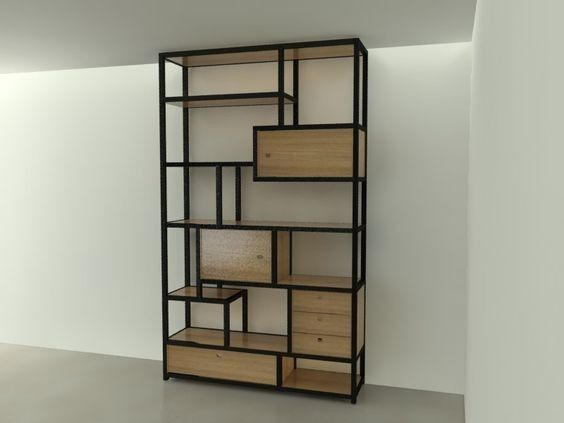 Steel and wood cabinet